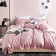 Lace Duvet Cover Set Queen Lightweight Soft Solid Color 3PC Bedding Set with Exquisite Flouncing by Hyprest Blush