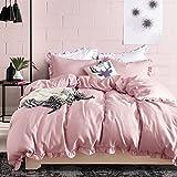 Hyprest Kids Princess Duvet Cover Set Twin Girls Soft Solid Color 3PC Bedding Set with Exquisite Flouncing Blush