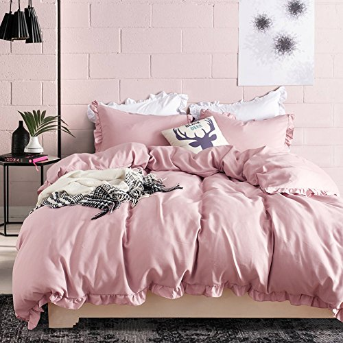Hyprest Kids Princess Duvet Cover Set Twin Girls Soft Solid Color 3PC Bedding Set with Exquisite Flouncing Blush (Twin Duvet Bedding)
