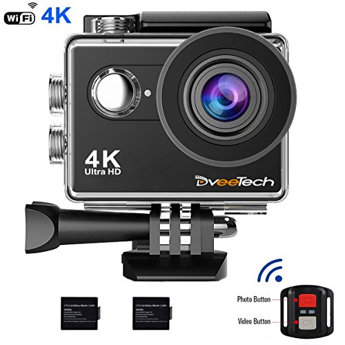 Dveetech 4k Action Camera Wifi Waterproof 30M Sport Camera 16Mp ultra hd 1080p Underwater DV Camcorder Action Cam with Remote 2 Batteries Bike Helmet Mounting Accessories Kit for Cycling Snorkeling by Dveetech