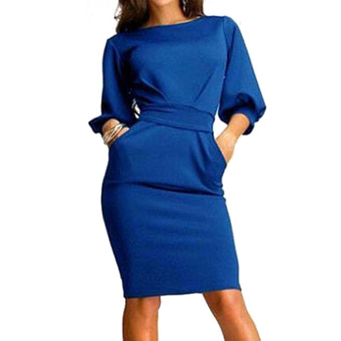 Vestidos mujer vestido de oficina - Hibote vestidos ajustados con cuello O Vestido de fiesta informal sexy elegante: Amazon.es: Ropa y accesorios