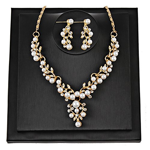 Gbell Women Wedding Pearl Beads Rhinestone Short Necklace Earrings Jewelry Gifts Set,Girls Lady Costume Necklaces Jewellery Charms Chain Pendant for Party,Engagement