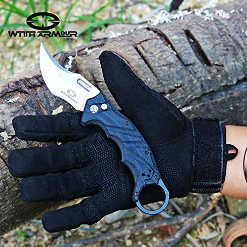 6b2511d4ce7 ... WITHARMOUR Black Lynx Pocket Folding Knife Tactical Karambit Knife  Survival Camping Knife with Clip and Safe ...