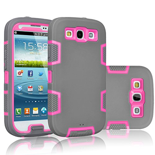 Galaxy S3 Case, Tekcoo(TM) [Troyal Series] [Gray/Pink] Hybrid Shock Absorbing Shock Dust Dirt Proof Defender Rugged Full Body Hard Case Cover Shell For Samsung Galaxy S3 S III I9300 GS3 All Carriers