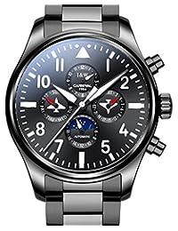 Carlien Pilot Men's Analog Automatic Mechanical Watch Luminous Calendar Moon Phase 24-Hours Black (Black)