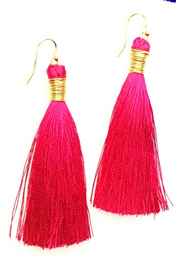 Silk Tassel Earrings (Hot Pink) - Post Hill Beacon
