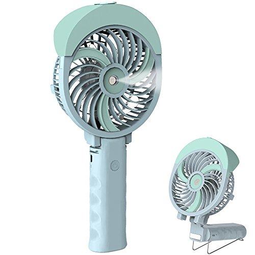 Portable Misting Fan - HandFan Handheld Misting Fan, Mini Hand Fan/Small Desk Fan Folding Change USB/Rechargeable Batter Operated Electric Fan Portable Cooling Fan Personal Spray Fan with Cooling Humidifier/Mister/3 Speeds