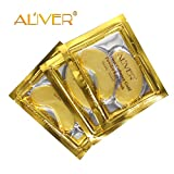 Aliver 24K Gold Collagen Eye Mask,Anti-aging Hyaluronic Acid  Repair and Moisturize Puffy Eyes Patch and Pads,Dark Circles Under Eye Treatment (5 PACK)