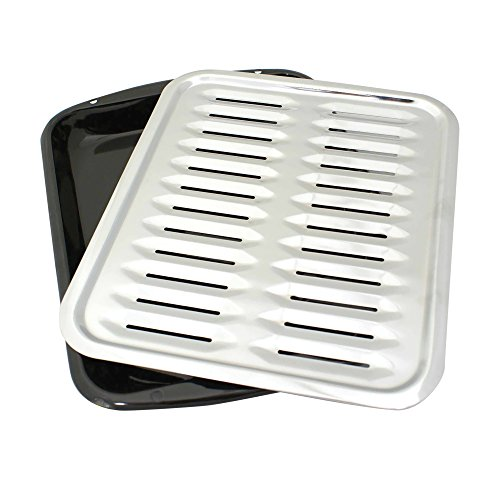 Range Kleen BP100 Porcelain Broiler Pan with Chrome Grill, 2-piece