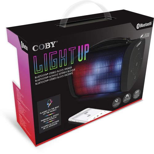 Coby CSBT-331-BLK Light Up Bluetooth Stereo Block Speaker by GLYRO