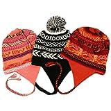 Three Assorted 100% Alpaca Wool Chullo Winter Ski Hats Caps Snowboard Pack003497