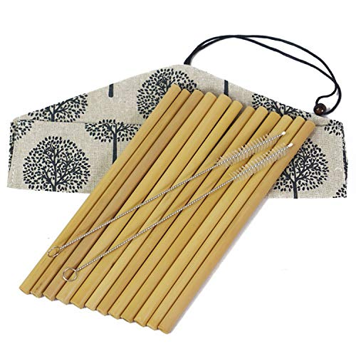 Set of 12 Bamboo Straws by EKOGO | 8 Inches Prime Natural Reusable Drinking Straw | With 2 Cleaning Brushes | Handcrafted, Organic, Biodegradable | Eco-friendly Replacement for Plastic Ones