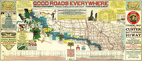 - Touring Map of the Custer Battlefield Highway - Panoramic Map (24x36 SIGNED Print Master Giclee Print w/ Certificate of Authenticity - Wall Decor Travel Poster)