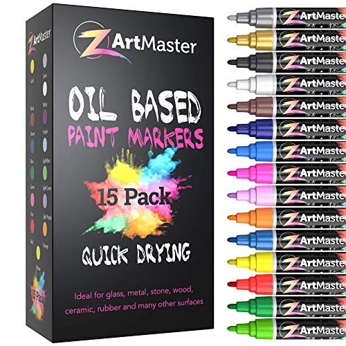 Paint Markers 15 Color Set - Medium Point Permanent Oil Based Paint Pens for Calligraphy, lettering, Rock Painting, Metal, Ceramic, Porcelain, Glass, Wood, Fabric, Canvas and MORE!