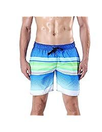 ORANSSI Men's Quick Dry Swim Trunks Stripes Printed Beach Shorts Bathing Suit