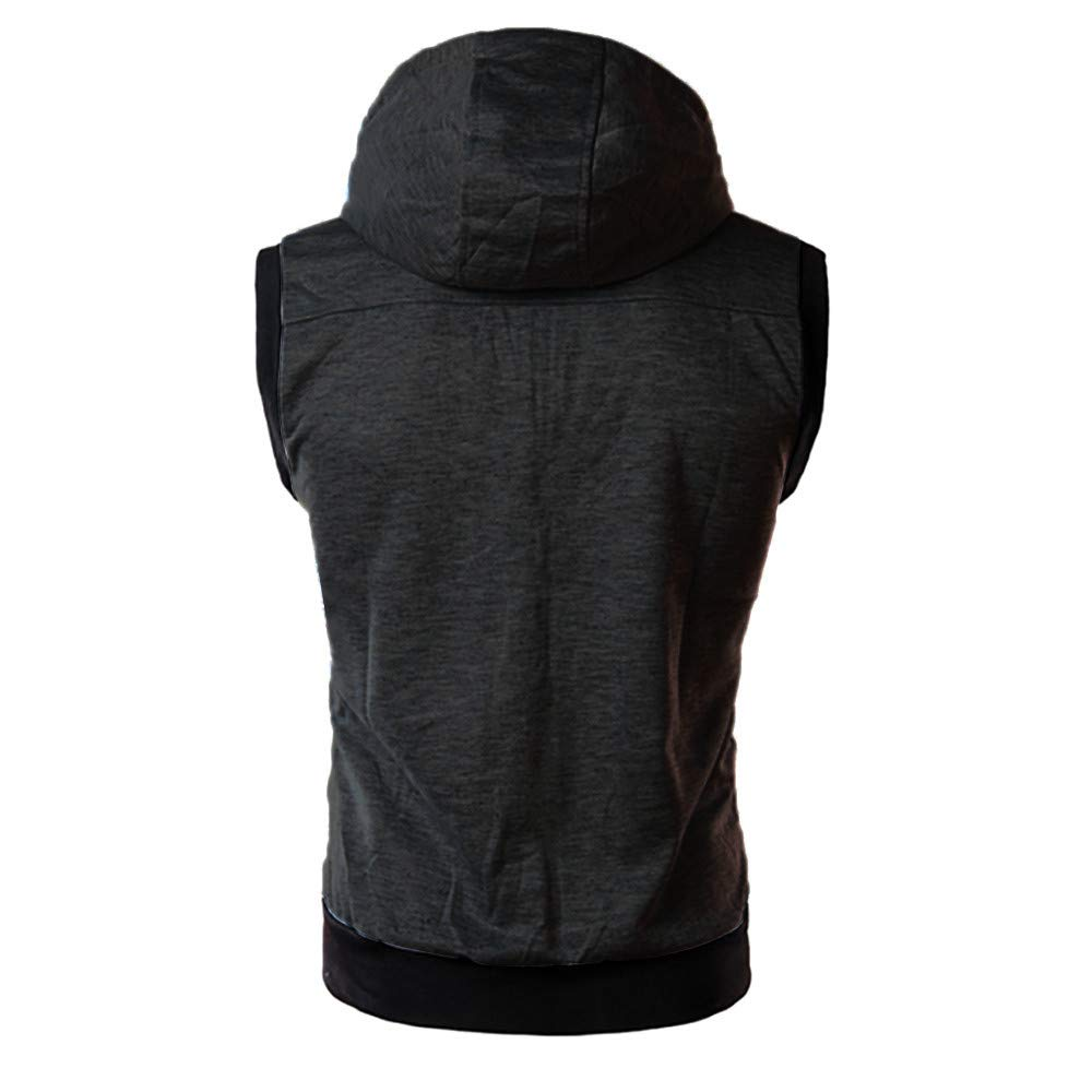 Mens Gyms Fitness Hoodie Vest,Ankola Mens Workout Hooded Tank Tops Sleeveless Gym Hoodies with Zipper Drawstring
