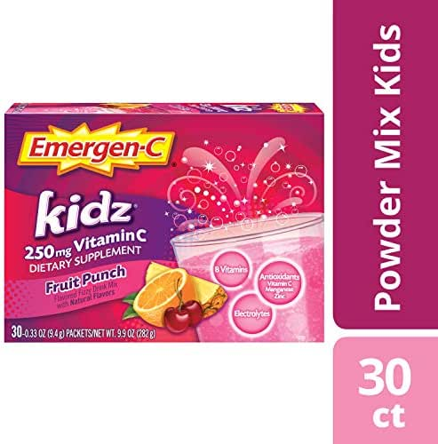 Emergen-C Kidz Vitamin C 250mg Powder (30 Count, Fruit Punch Flavor, 1 Month Supply), Dietary Supplement Drink Mix, Caffeine Free