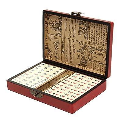Ireav 144 Tiles Mah Jong Set Multi color Portable Vintage Mahjong Rare Chinese Toy With Leather Box