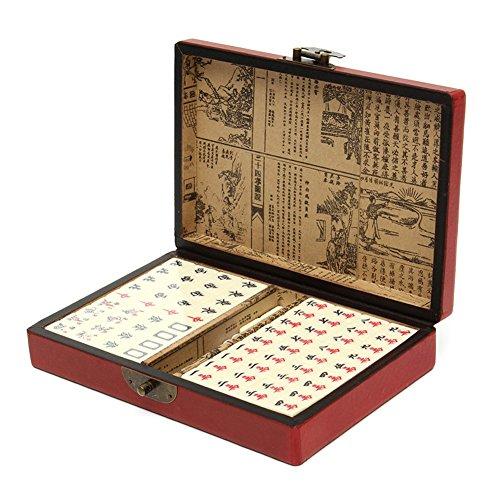 Ireav 144 Tiles Mah Jong Set Multi color Portable Vintage Mahjong Rare Chinese Toy With Leather Box - Vintage Mahjong