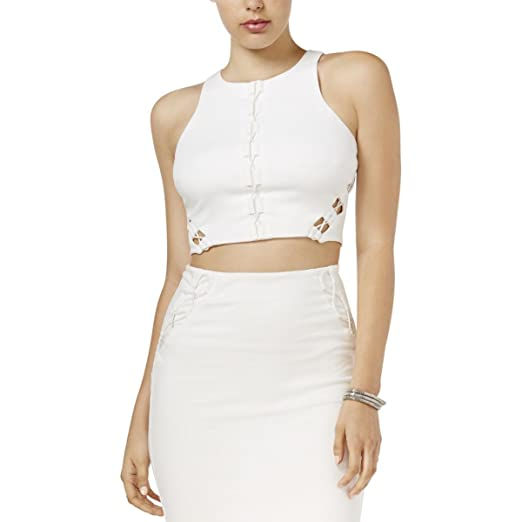 GUESS Womens Mona Lace up Back Zipper Crop Top White XL at Amazon ... 31757c1f0