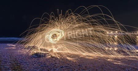 Showers of Hot Glowing Sparks from Spinning Steel wool at Coney ...
