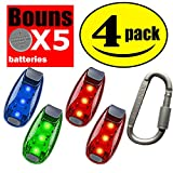 STURME LED Safety Light 4 pack + 5 FREE Bonuses battery Clip On Strobe/Running Lights for Runner, Bike, Dogs, Walking The best accessories for your reflective gear, Bicycle cycling