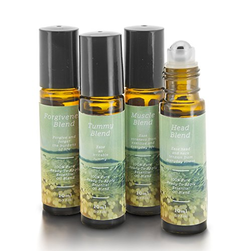 Pain Relief Essential Oil Roll-On Blend Kit | Muscle, Head, Tummy, Forgiveness | 4 10ml Ready-To-Apply Roll-Ons | 100% Pure & Therapeutic Quality | Headaches, Sore Muscles, Tummy Aches, Joint Pain