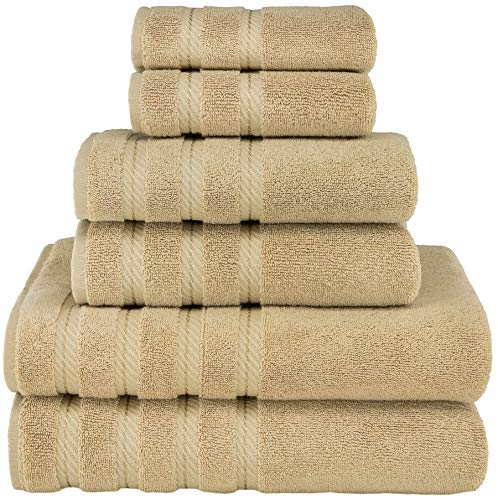 American Soft Linen Premium, Luxury Hotel & Spa Quality, 6 Piece Kitchen & Bathroom Turkish Towel Set, Cotton for Maximum Softness & Absorbency, [Worth $72.95] (Sand Taupe)