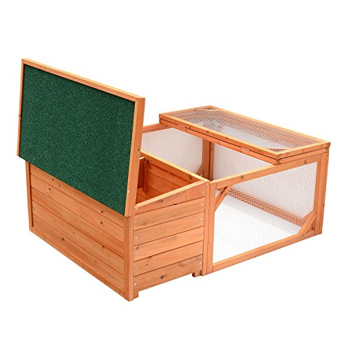 Pawhut Small Wooden Bunny Rabbit & Guinea Pig / Chicken Coop w/ Outdoor Run by PawHut (Image #6)