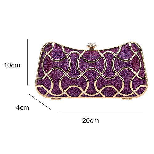 Women For Purple Black Handle Clutch Bonjanvye Bags Metal Evening With Sa4q7