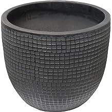 """Zen Garden Checks Terracotta Planter, Size - 12"""" x 10"""" (Dia x H), Color - Charcoal"""