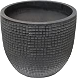 Zen Garden Checks Terracotta Planter, Size – 12″ x 10″ (Dia x H), Color – Charcoal Review