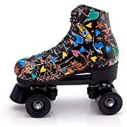 Roller Skates for Women and Mens, Classic High-top 4 Wheels Skating Roller Double Row Skates for Indoor and Ou