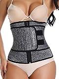 Neoprene Waist Trainer Tummy Control Snatcher Back Support with Zipper Women Abs Grey, Medium