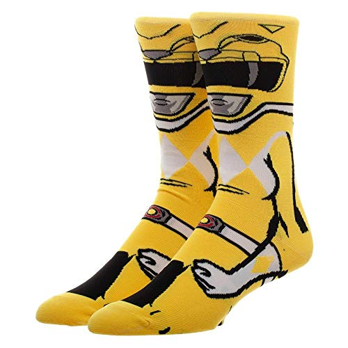 (Power Rangers Yellow Ranger 360 Character Men's Crew Sock)