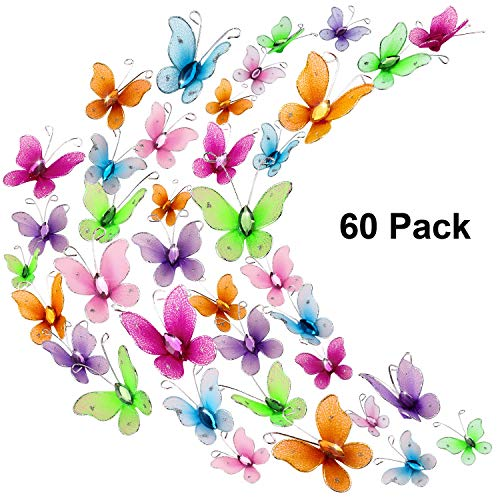 - 60 Pieces Colorful Butterflies Set, Nylon Butterflies Wire Butterfly with Delicate Gem for Home and Wedding Table Scatter Scrapbook Craft Card Decoration, 2 Sizes (2.5 cm and 3 cm)