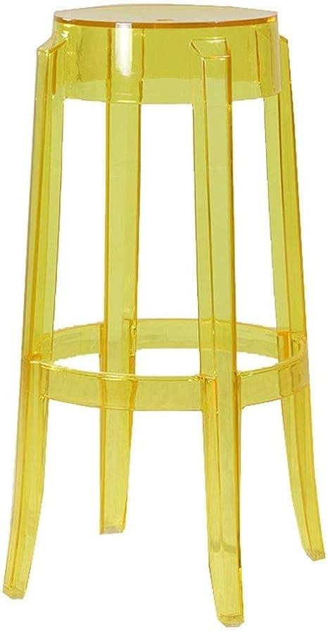 QIDI Taburetes de Bar de acrílico Silla de Mesa de Comedor Space Save - 37 X 37 X 65 / 75cm (Color: Naranja, Dimensiones: H: 65CM) (Color : Amarillo, Tamaño : H:65CM): Amazon.es: Hogar