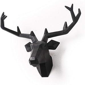 Yunno Black Faux Taxidermy Resin Deer Head in Animal Head Wall Decor Deer Head Wall Mount Sculpture (Black)