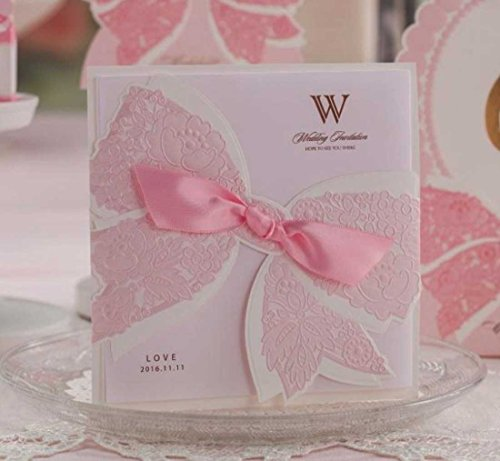 Wishmade wedding invitation cards 20 sets Pink Ribbon Bow Customized for Marriage Engagement Birthday Party (Printable Invitations Templates)