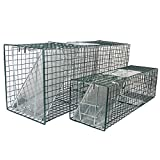 "MLG Tools 2-Pack Humane Live Animal Trap 32"" & 24"" Catch Release Cage for Large Nuisance Rodents Control Raccoon Mole Gopher Opossum Skunk Squirrel Feral Stray Cats Wild Rabbits"