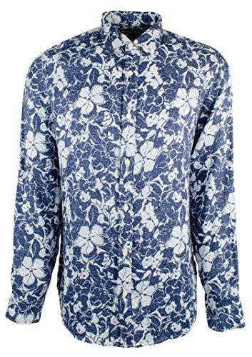 - Michael Kors Men's Classic Fit Floral Linen Long Sleeve Shirt-M-S
