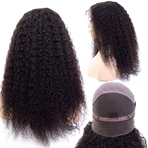 (Curly Human Hair Wigs, Brazilian Human Hair Wig With Baby Hair Natural Color 150% Density Glueless Full Lace Wigs Kinky Curly Human Hair For Black Women)