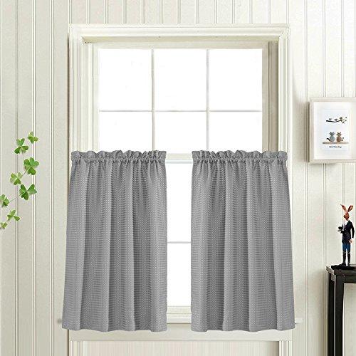 Waffle Woven Half Window Curtains for Bathroom Waterproof Ki