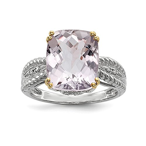 925 Sterling Silver 14k Purple Amethyst Diamond Band Ring Size 7.00 Stone Gemstone Fine Jewelry Gifts For Women For Her