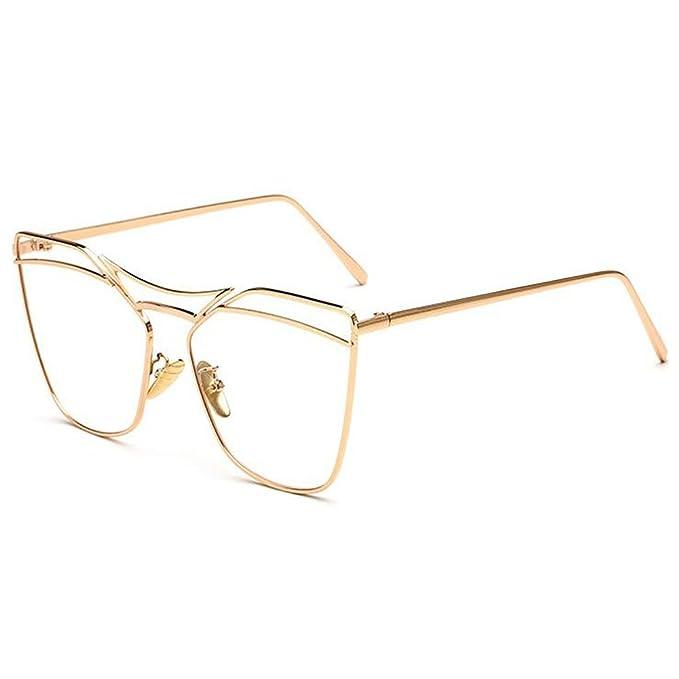 Mode Anti-Strahlung Brille Vintage Metall Rahmen Harz Klare Linse Damen Herren 0ibCVC