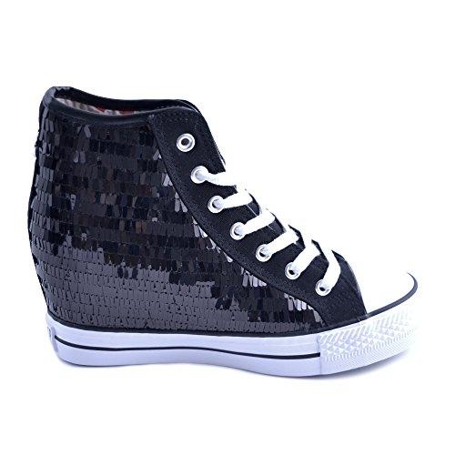CafèNoir Scarpe Sneakers Alte Donna Cafe'Noir in Pelle e Tessuto Nero con Paillettes rettangolari Applicate. Taglia 35