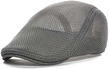 f2bfc0314dc2 VOBOOM Men Breathable mesh Summer hat Newsboy Beret Ivy Cap Cabbie Flat Cap