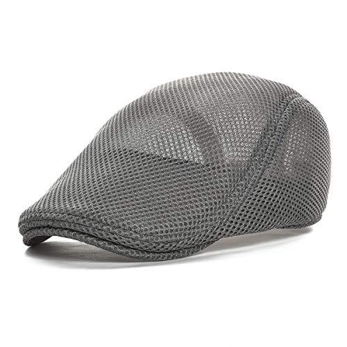 VOBOOM Men Breathable mesh Summer hat Newsboy Beret Ivy Cap Cabbie Flat Cap (Style3- - Hat Ivy