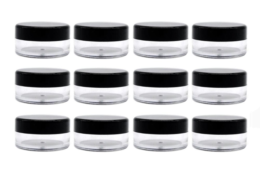50PCS Transparent Plastic Travel Cosmetic Sample Vial Packing Bottles with Black Screw Cap-Empty Jars Small Round Holder Face Cream Lip Balm Lotion Storage Container Jar Pot DIY Beauty Tool (3G) Elandy