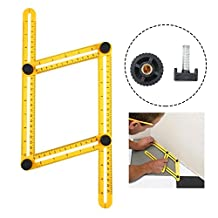Angleizer Template Tool,niceEshop(TM) Metal Screws Angle Measure Ruler,Multi Angleizer Template Ruler for Builders or Engineer,Yellow+Black